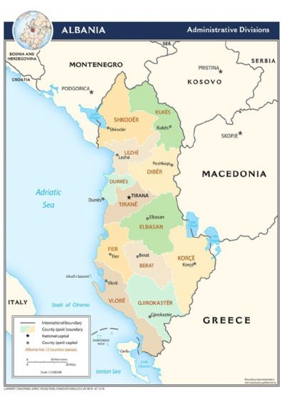 CIA Administrative Map of Albania 2009 Print/Poster (5207)